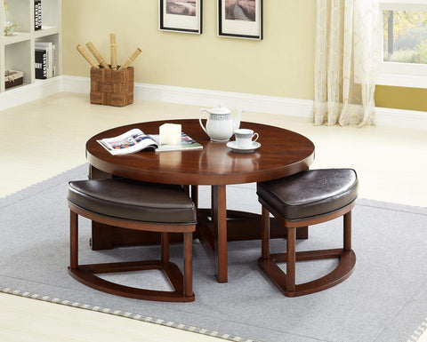 GTU Furniture Contemporary Round 3-Piece Coffee Table and Stool Set
