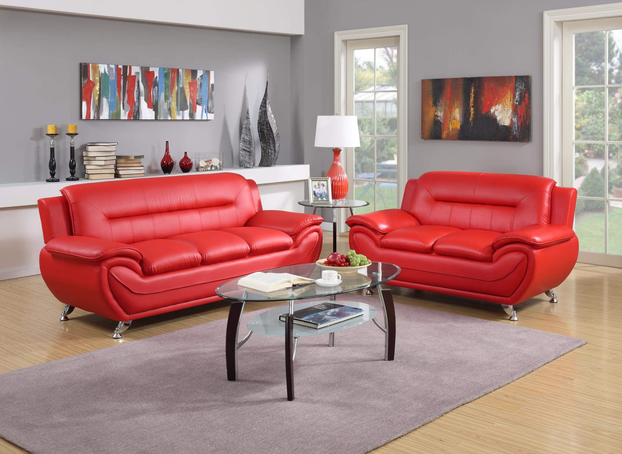 GTU Furniture 2 pc Contemporary PU Leather Sofa & Loveseat Set with 3pc Coffee Table Set (Red)