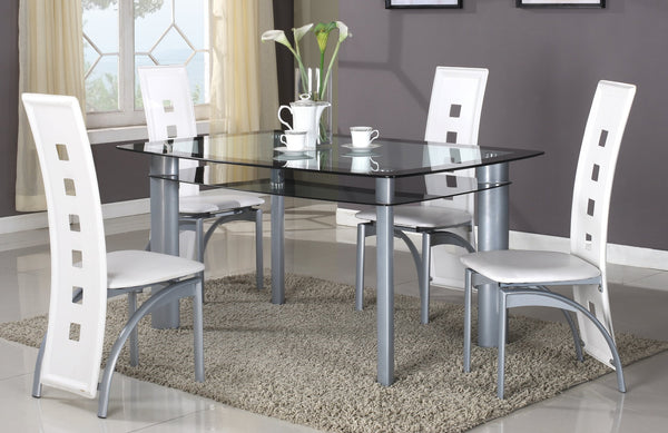GTU Furniture 5Pc Glass Dining Room/ Kitchen Table Set, 1 Table and 4 Chairs
