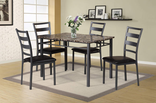 GTU Furniture 5pc Modern Sophisticated Versatile Faux Marble Top Dining Table with Espresso Finish Button-Tufted Parson Chairs