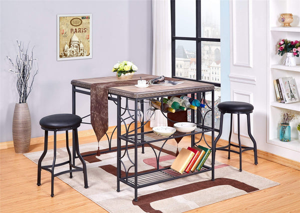 GTU Furniture 3Pc Counter Height Dining Table/Pub Set (3 in 1)