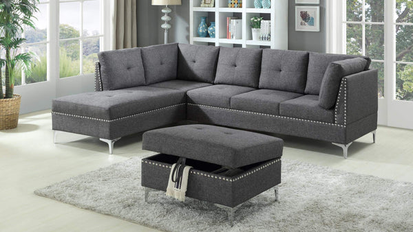 GTU Furniture Contemporary Sectional Sofa Set in Grey