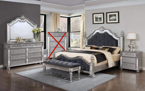 GTU Furniture Kenton Panel Wooden Queen/King Bedroom Set (Queen Size Bed, 5Pc)