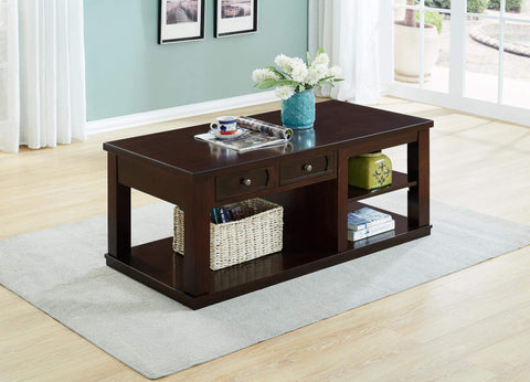 GTU Furntiure Modern Dark Brown Wood Rectangular Cocktail Living Room Coffee Table and Shelf Drawers