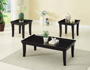 GTU Furntiure 3Pc Contemporary Black Wood Rectangular Living Room Coffee & End Table Set