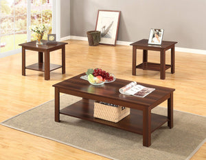 GTU Furniture Occassional Modern, Contemporary, Transitional, Traditional, 3-Piece Square Accent Table Set with 1 Coffee Table, and 2 End Tables in a Rich Dark Oak Brown Wood Finish, with Storage Shel