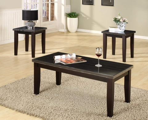 GTU Furntiure 3Pc Black Faux Marble Rectangular Top Living Room Coffee & End Table Set