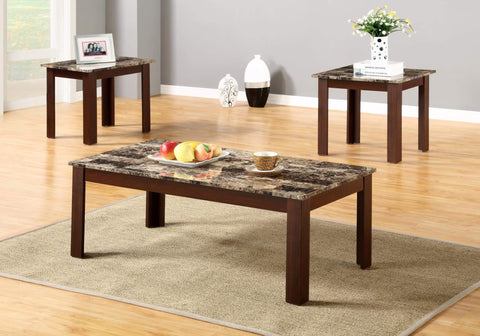 GTU Furntiure 3Pc Brown Faux Marble Top Living Room Coffee & End Set
