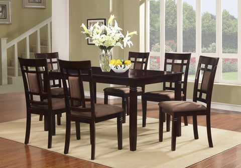 GTU Furniture 7Pc Wooden Cappuccino Dinette Set with Fabric Cushion