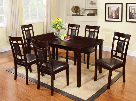 GTU Furniture 7Pc Wooden Dark Cappuccino Dinette Set with Leather Cushion