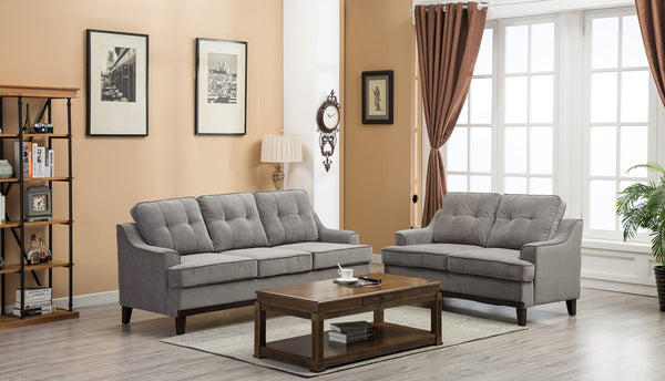 GTU Furniture Grey Microfiber Sofa and Loveseat Living Room Set