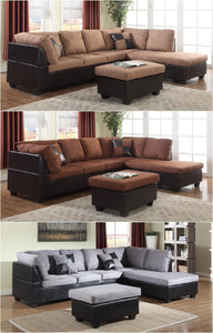 GTU Furniture Microfiber Sectional Couch Sofa Living Room Set, 3 Color Available