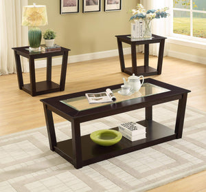 GTU Furntiure 3Pc Glass top Brown Cocktail Living Room Coffee & End Table Set