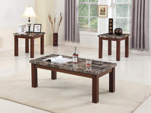 GTU Furniture Modern Contemporary Glam, 3-Piece Square Accent Table Set with 1 Coffee Table, and 2 End Tables in a Dark Brown Wood Finish Topped with Faux Marble, with Storage Shelf, Mesitas para Sala
