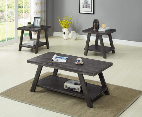 GTU Furntiure 3Pc Modern Gray Cocktail Living Room Coffee & End Table Set