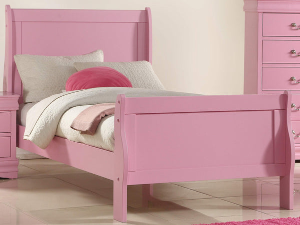 GTU Furniture Classic Louis Philippe Styling Pink Kids Twin/Full/Queen/King Bedroom Set