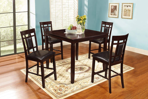 GTU Furntiure 5Pc Counter Height Dark Bown Wood Table Set