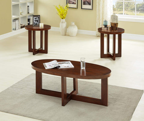 GTU Furniture Ocassional, Contemporary Modern, Transitional Oval Accent Table Set, 1 Coffee Table and 2 End Tables with a Rich Oak Finish, Mesitas para Sala