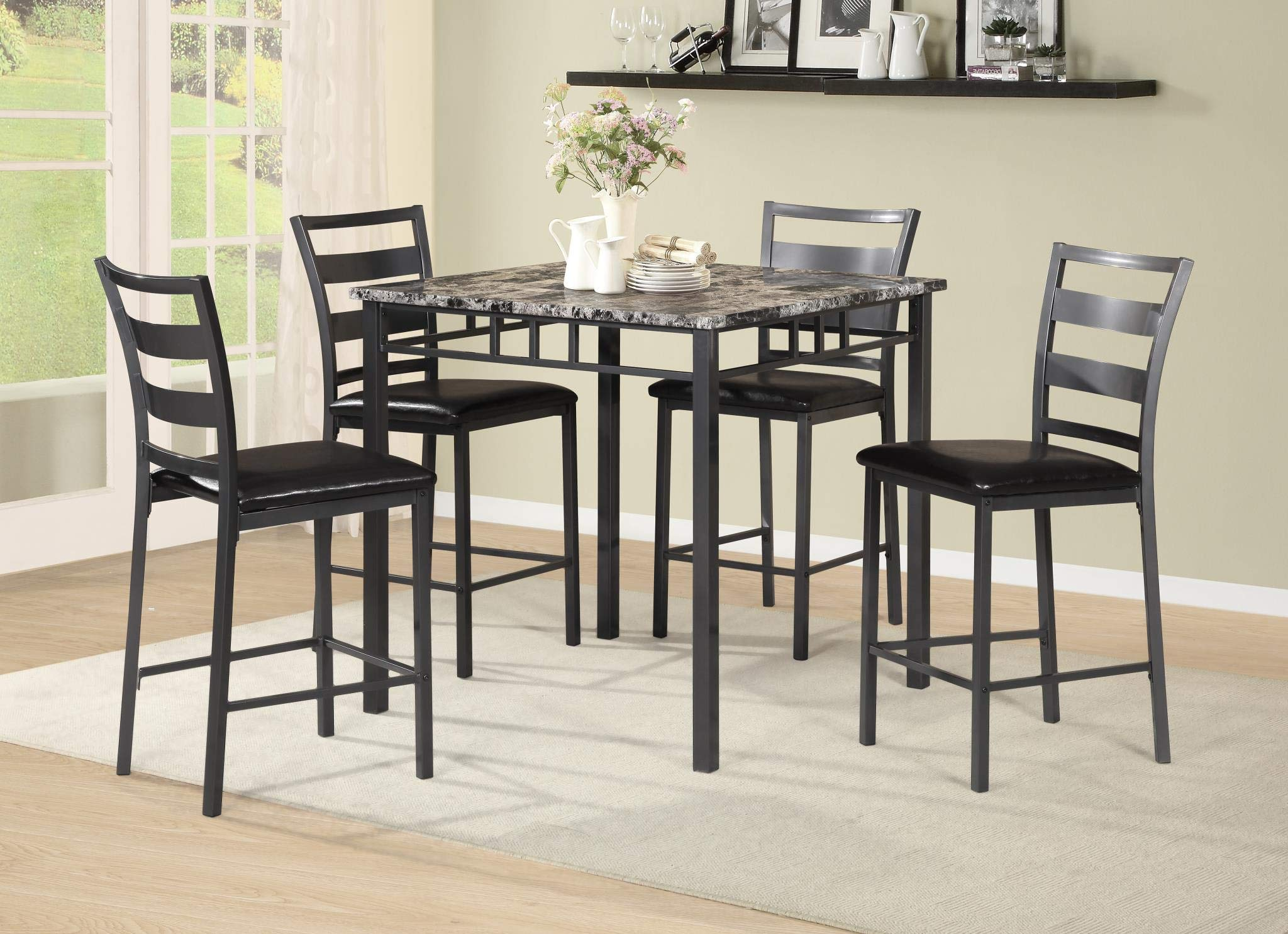 GTU Furniture New Transitional 5-Piece Upholstered Faux Marble Pub Dining Set