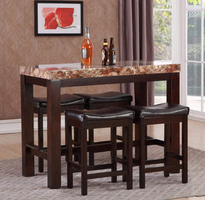 GTU Furniture 5Pc Faux Marble Counter Height Pub/Dining Table Set