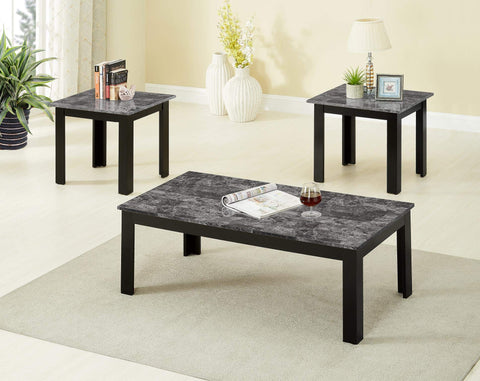 GTU Furniture Occassional 3-Piece Square Faux Marble Top Accent Table Set