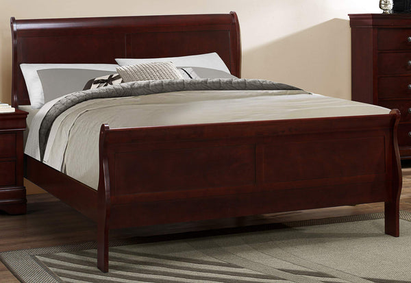 GTU Furniture Classic Louis Philippe Styling Deep Cherry Twin/Full/Queen/King Bedroom Set