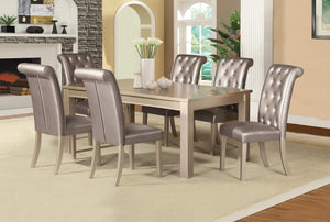 GTU Furniture 7-Piece Contemporary Champagne Dining Table Set w/Luxurious Button Back Chairs