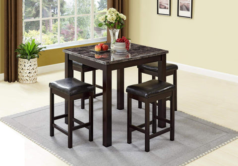 GTU Furniture 5Pc Faux Dark Wood Marble Top Counter Height Pub Table Set (5 In1)