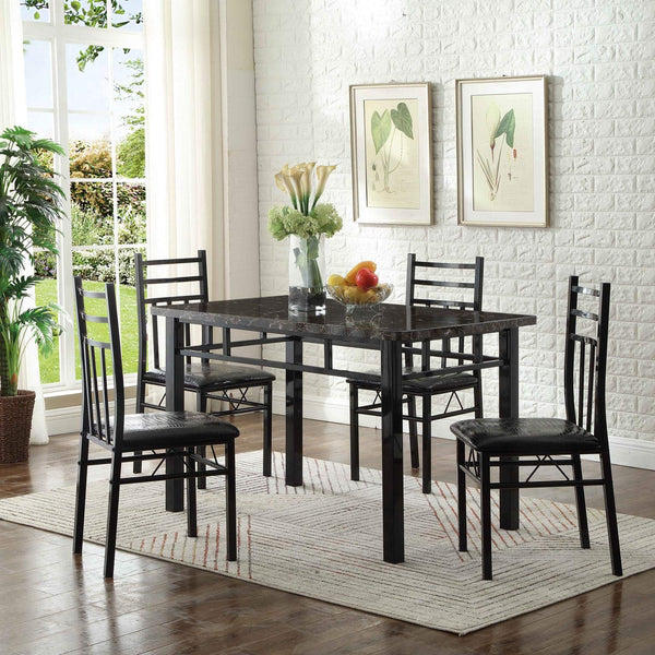 GTU Furniture 5-Piece Upholstered Faux Marble Dining Set