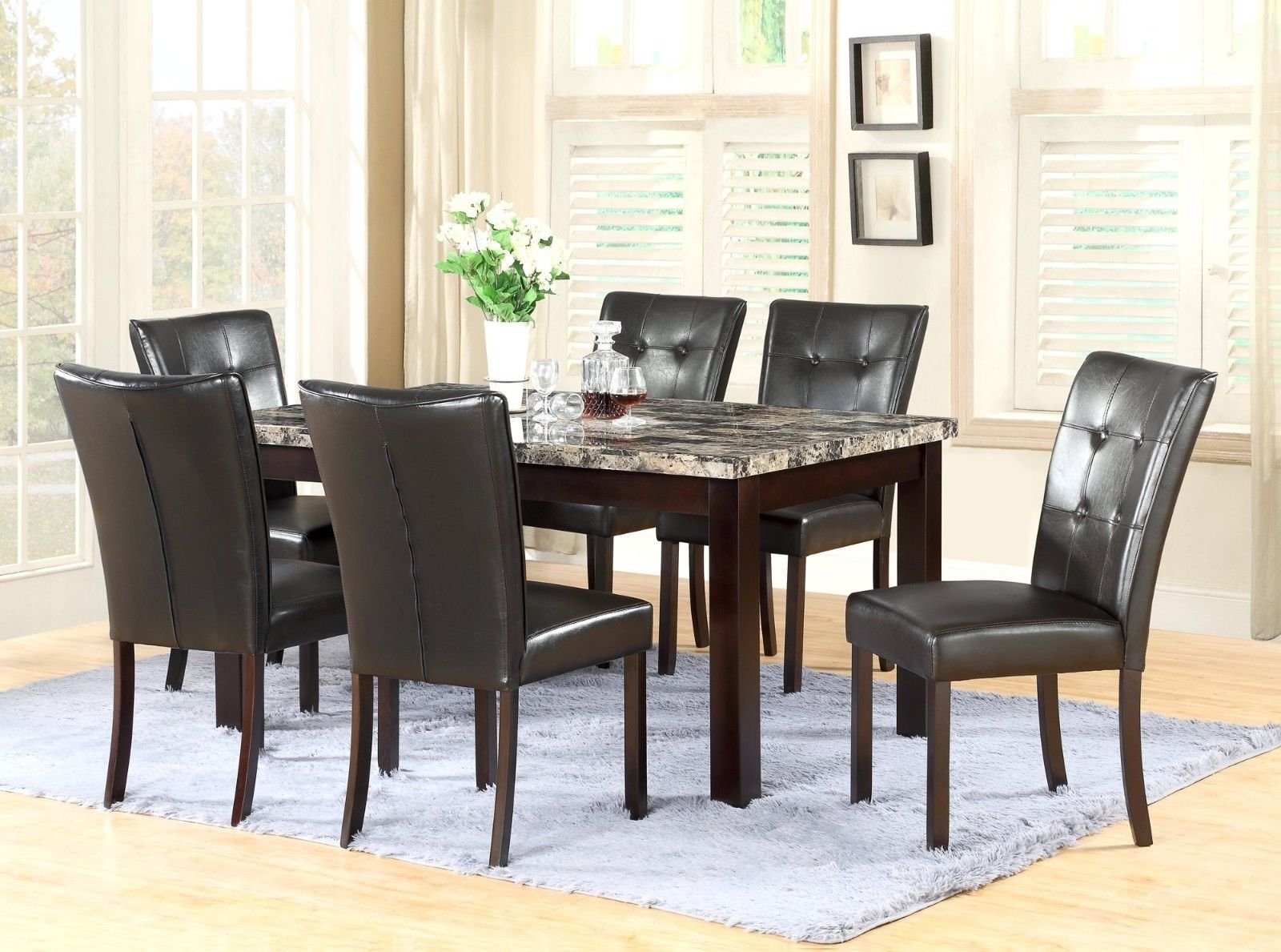 Gtu Furniture 7 Piece 64x38 Dining Room Kitchen Table Set With Faux