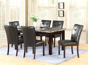 GTU Furniture 7-Piece 64x38 Dining Room & Kitchen Table Set with Faux Marble Top, 1 Table & 6 Chairs