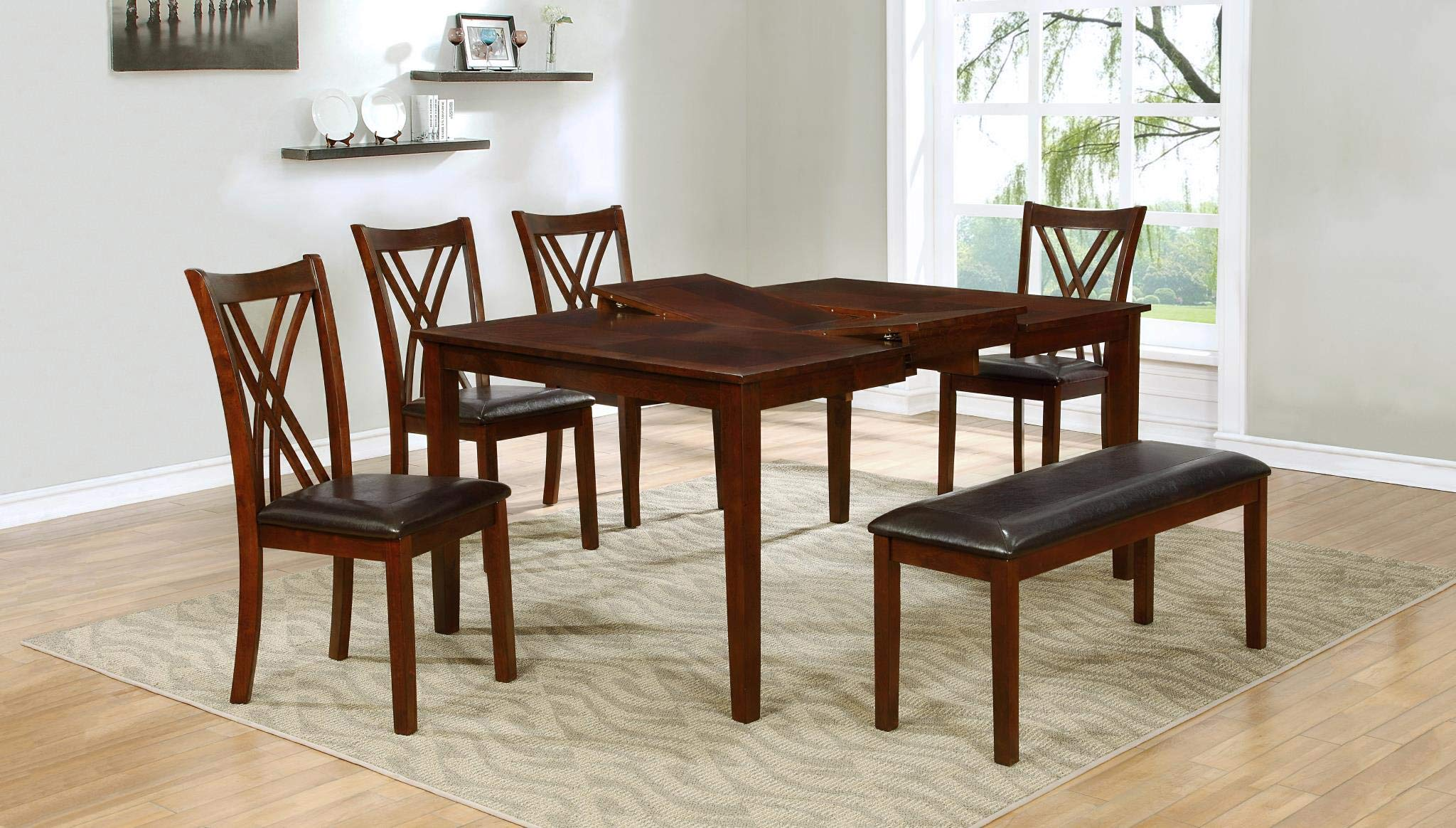 GTU Furniture 6 PC Cherry Wood Dining Set, Expand Top Table, 4 Chairs and a Bench, Solid Wood