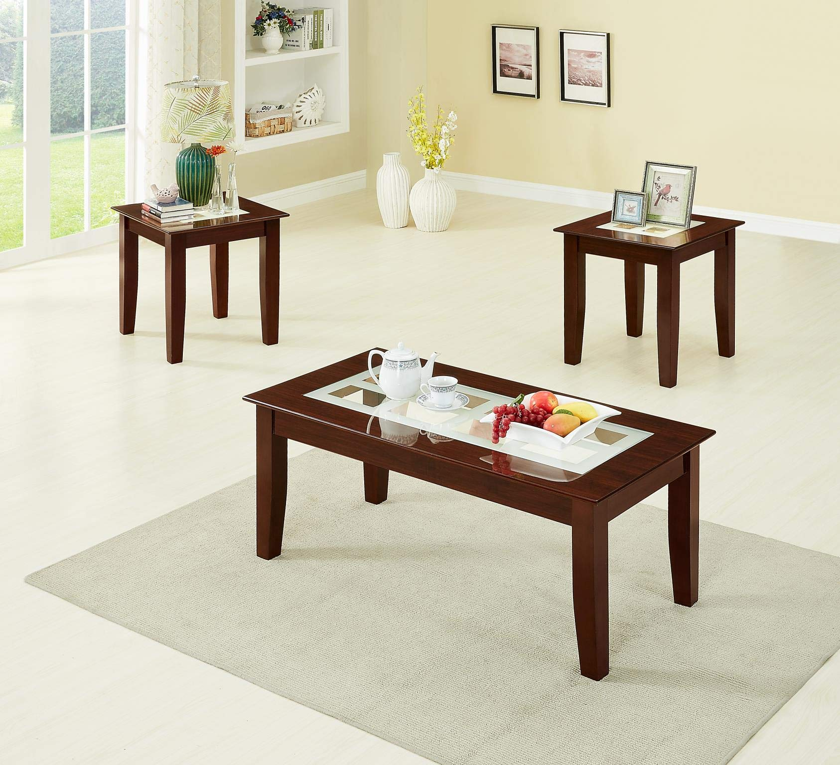 GTU Furntiure 3Pc Cappuccino Rectangular Glass Top Living Room Coffee & End Table Set