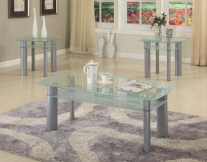 GTU Furniture Modern 3 Piece Coffee Table Set Metal Base with Glass Top and Storage Shelf