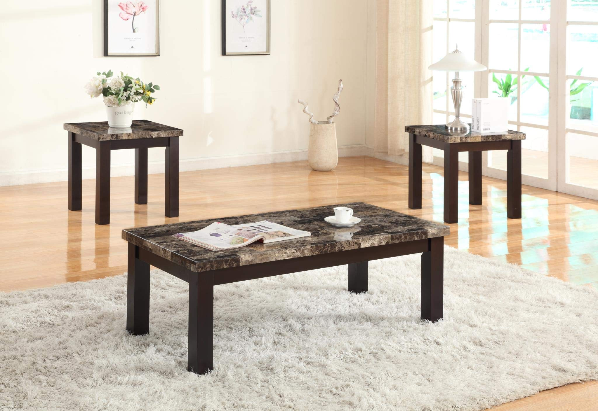 GTU Furntiure 3Pc Faux Marble Top Espresso Rectangular Living Room Coffee & End Table Set