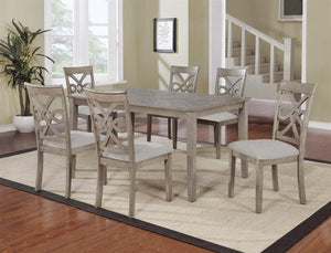 GTU Furniture Beautiful 7PC Grey Hardwood Table Top &Chairs Dining Table Set
