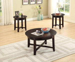 GTU Furntiure 3Pc Round Dark Brown Cocktail Living Room Coffee & End Table Set