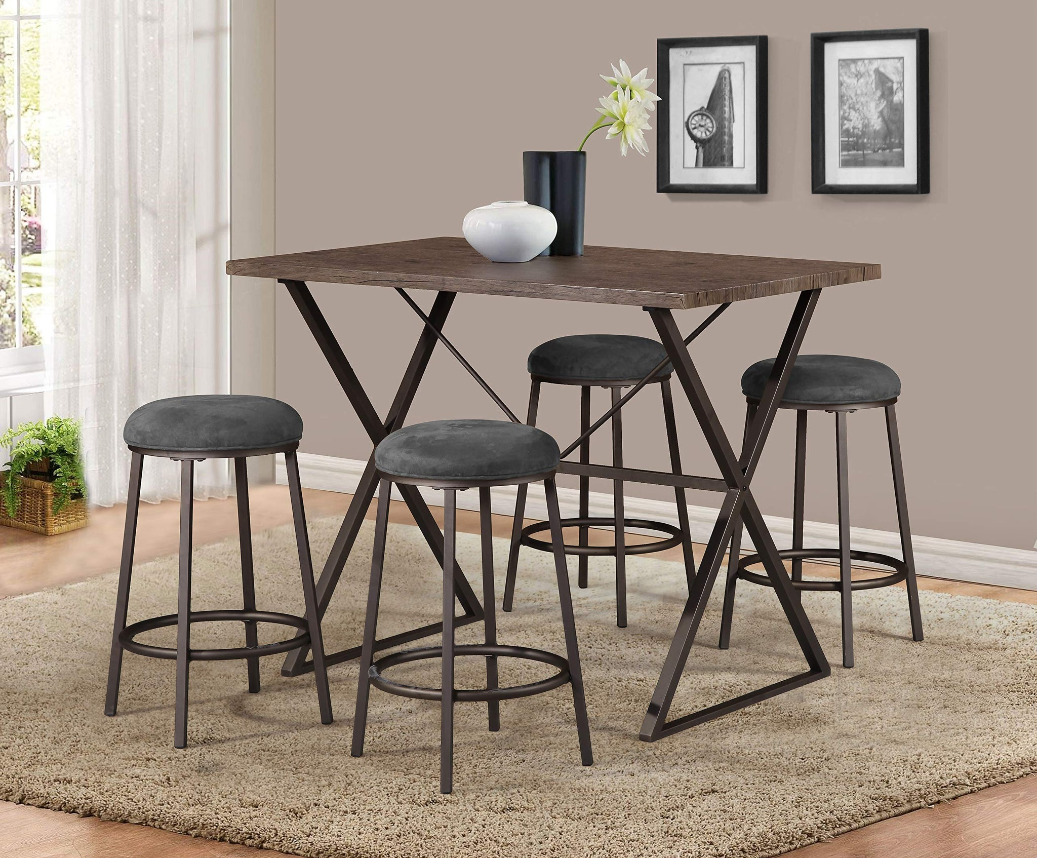 GTU Furniture 5 Piece Brown Industrial Counter Height Dining Pub Set, One Table with 4 Stools