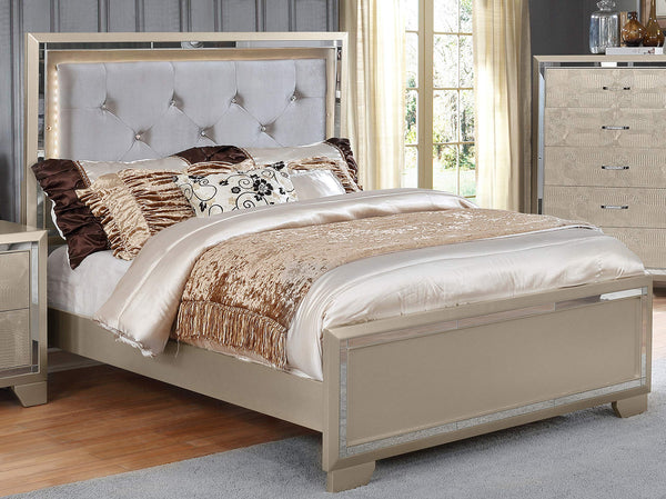 GTU Furniture Contemporary Metallic Gold and Silver Style Wooden Queen/King Bedroom Set