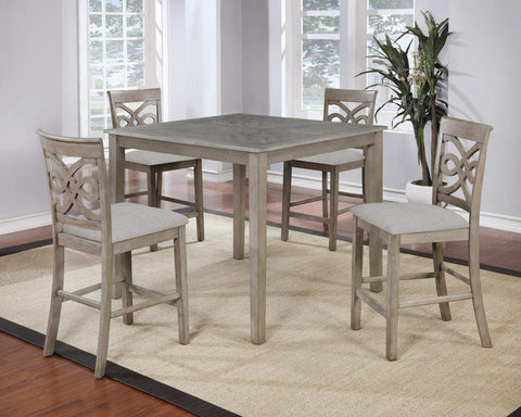 GTU Furniture Beautiful 5PC Wood Square High Dining Table Set in Grey