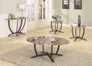 GTU Furntiure 3Pc Oval Faux Marble top Living Room Coffee & End Table Set