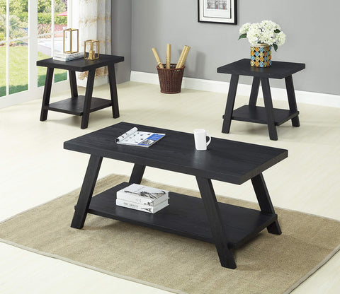 GTU Furntiure 3Pc Modern Black Cocktail Living Room Coffee & End Table Set