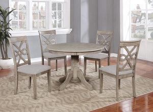 GTU Furniture Beautiful 5PC Wood Round Dining Table Set, Grey Hardwood Table Surface & Chairs