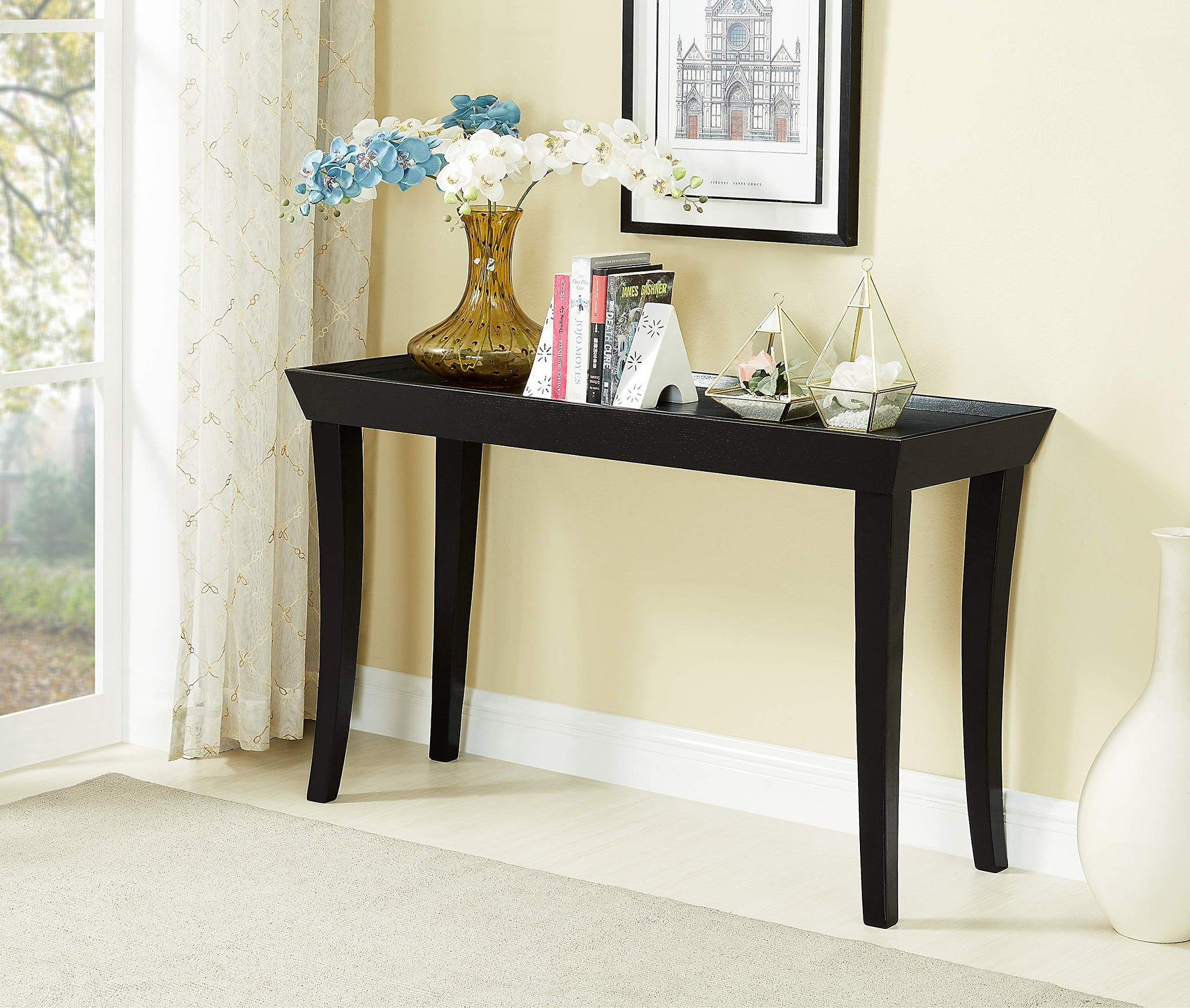 GTU Furntiure Black Contemporary Black Rectangular Sofa Table