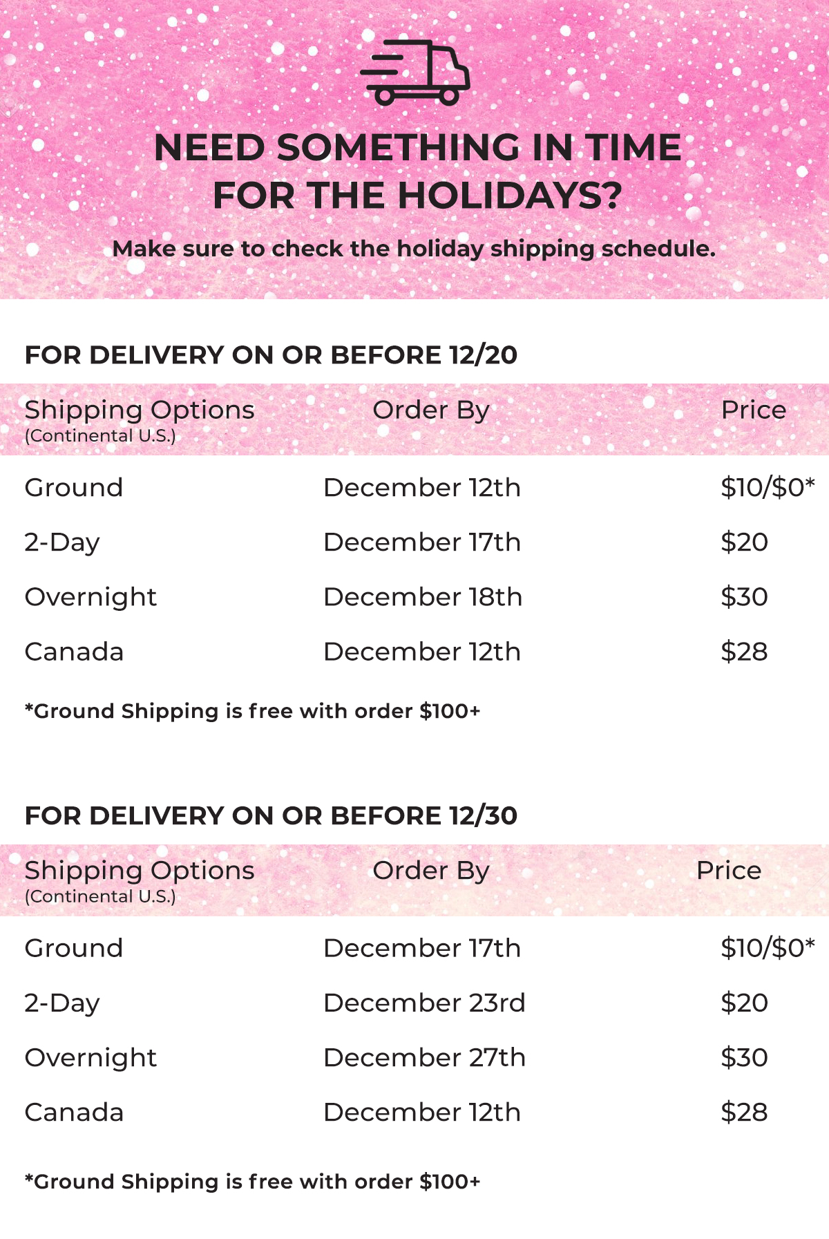 Holiday Shipping Window