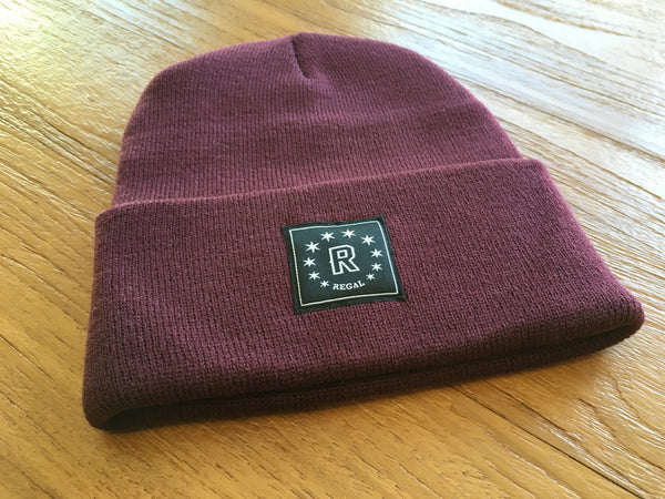 "The ""DAILY REGAL"" Cuffed Beanie (Burgundy)"