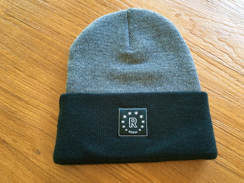 "The ""DAILY REGAL"" Cuffed Beanie (Grey & Black)"