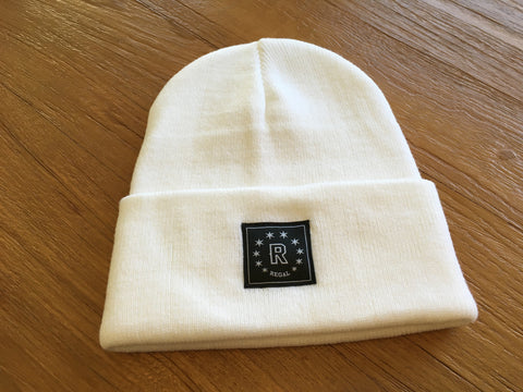 "The ""DAILY REGAL"" Cuffed Beanie (WHITE)"
