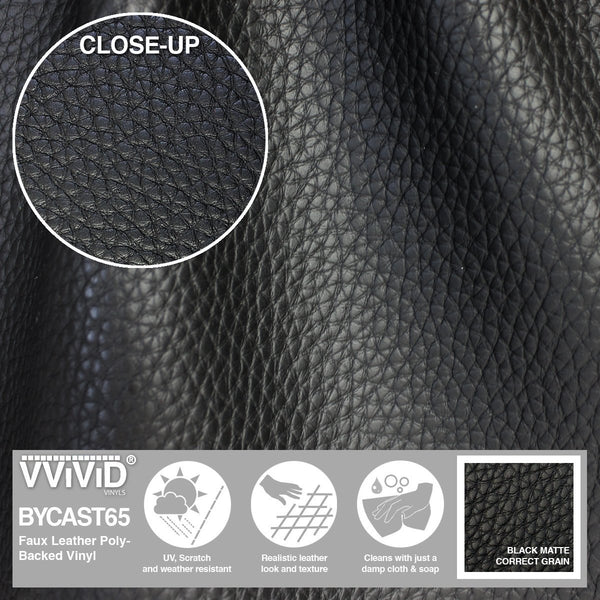Bycast65 Black Matte Correct-Grain Pattern Faux Leather Marine Vinyl Fabric display