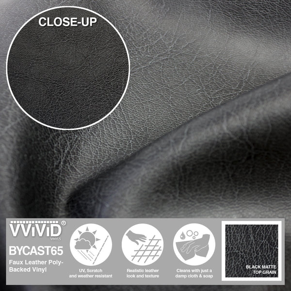 Bycast65 Black Matte Top-Grain Pattern Faux Leather Marine Vinyl Fabric display